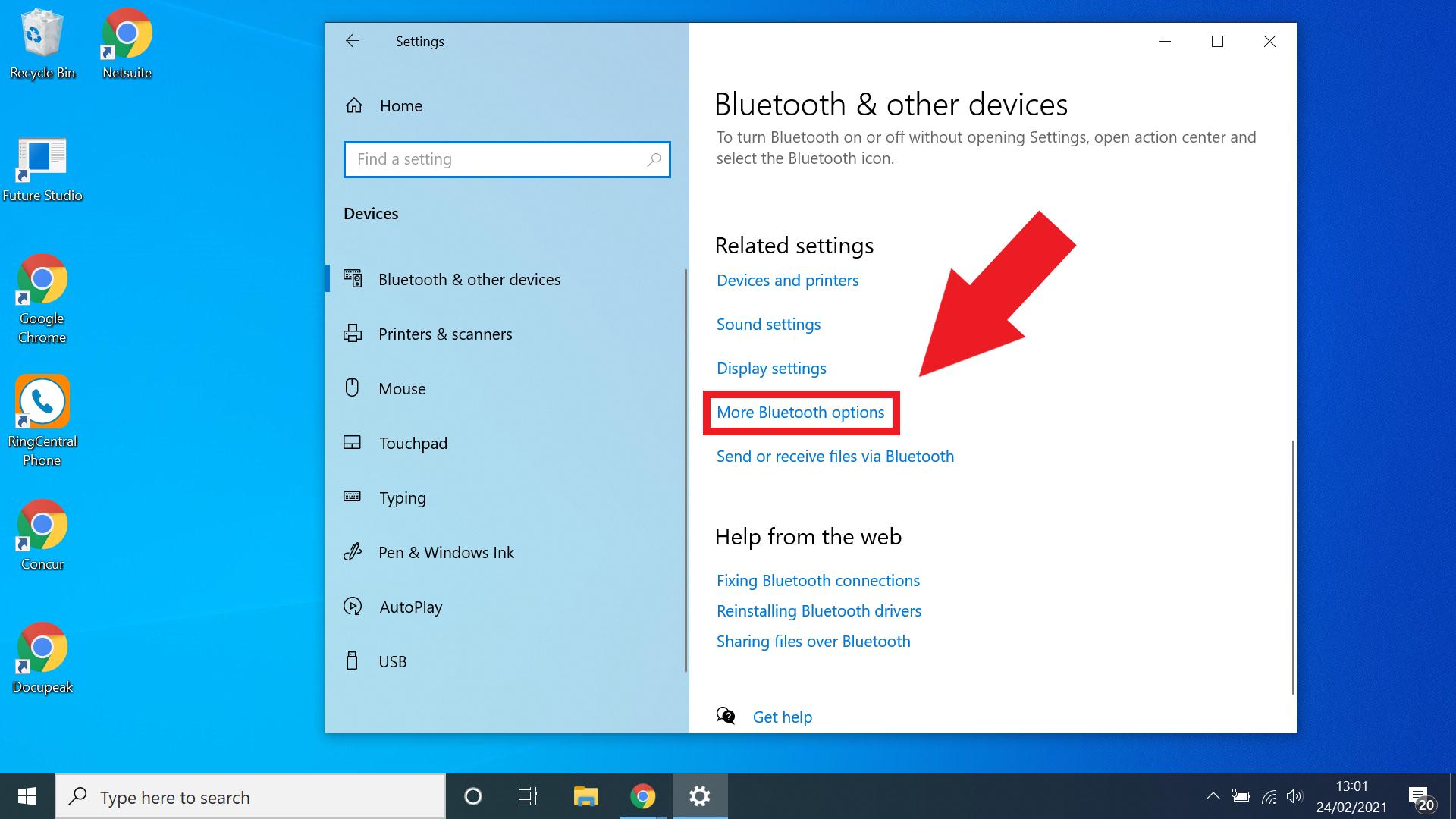 cara mengaktifkan bluetooth untuk windows 10 - pilih lebih banyak opsi bluetooth jika diperlukan