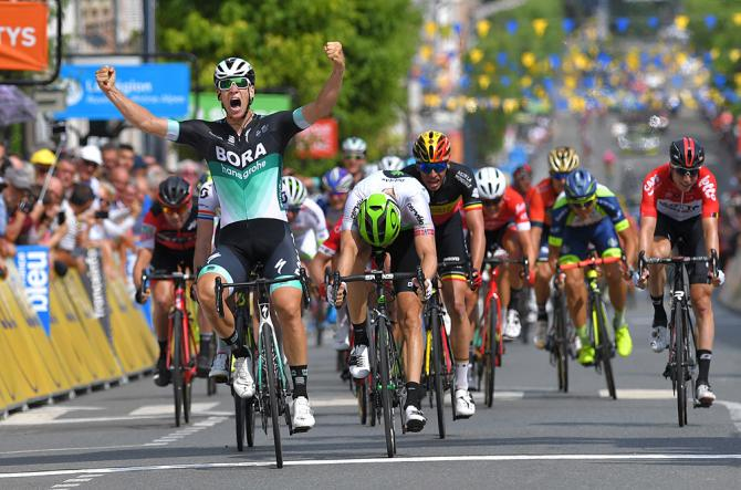 Pascal Ackermann (Bora-Hansgrohe) won stage 2 of the Critérium du Dauphiné