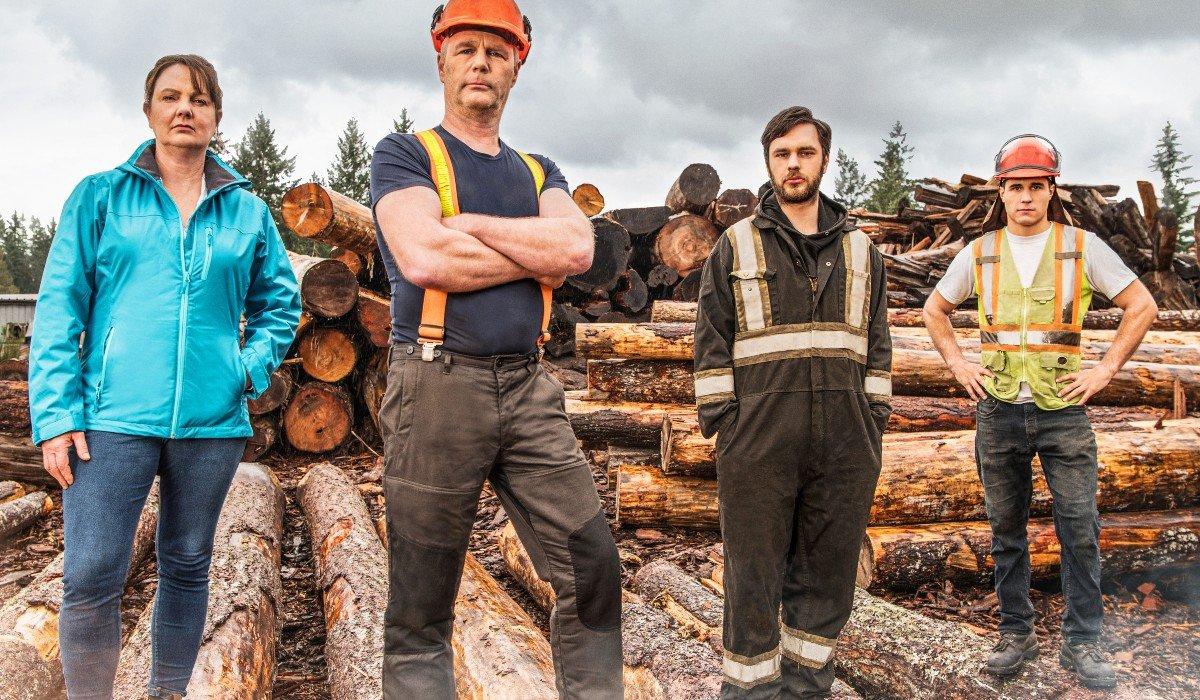 Big Timber crew behind logs Netflix