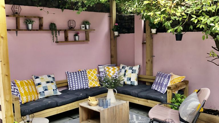 before and after garden makeover with DIY pergola