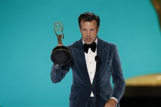Jason Sudeikis accepts the Emmy for outstanding lead actor in a comedy series during the 73rd Annual Emmy Awards, which aired on CBS Sunday, Sept. 19, 2021.