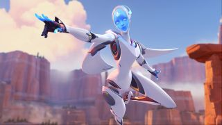 Echo poses heroically in this Overwatch screenshot.