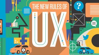 An flat, vector-style illustration showing various elements of UX including wireframing and featuring services whose UX is being improved, such as social media companies and driverless cars.
