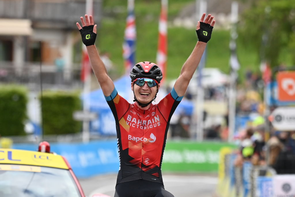 Ukrainian Mark Padun of Bahrain Victorious celebrates after winning the last stage of the 73rd edition of the Criterium du Dauphine cycling race from La Lechere to Les Gets France Sunday 06 June 2021BELGA PHOTO DAVID STOCKMAN Photo by DAVID STOCKMANBELGA MAGAFP via Getty Images