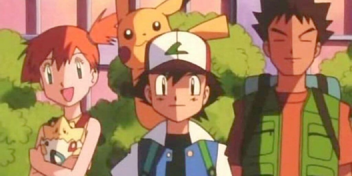 Ash, Misty and Brock in the original anime of Pokemon: Indigo League.