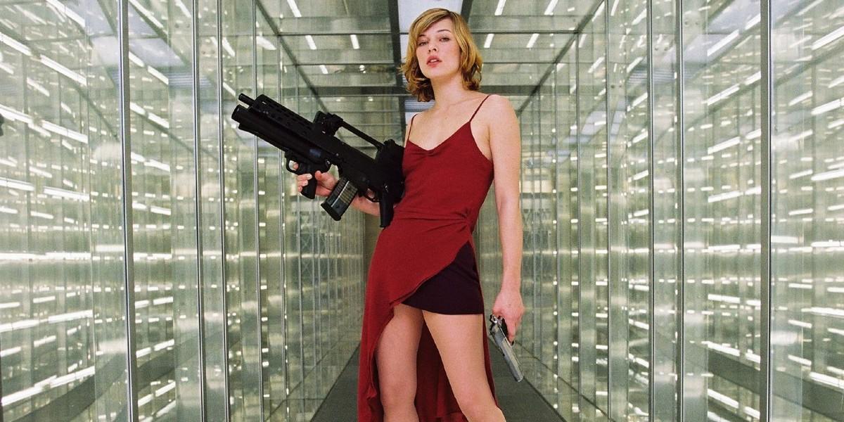 Milla Jovovich in a red dress