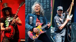 [L-R] Slash, Kirk Hammett and Tom Morello