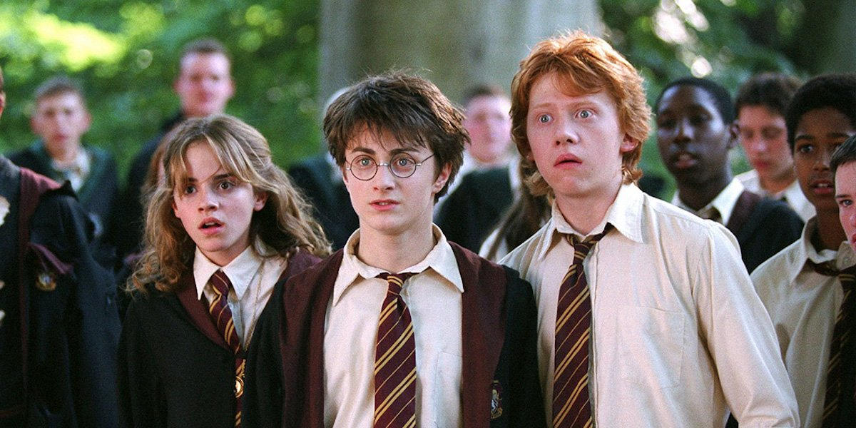 Emma Watson, Daniel Radcliffe, Rupert Grint as Hermoine, Harry and Ron in Harry Potter: Prisoner of