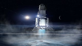 Blue Origin's Proposed Lunar Lander Touching Down On The Surface Of The Moon