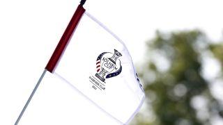 2021 Solheim Cup logo on a golf flag