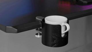 Ikea Asus ROG mug holder clipped to desk