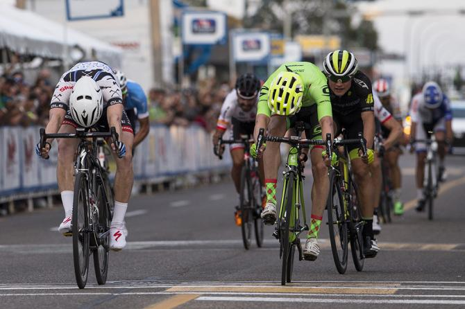 Colin Joyce gets the better of Alex Howes to win stage 1