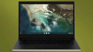 Galaxy Chromebook Go by Samsung on green background