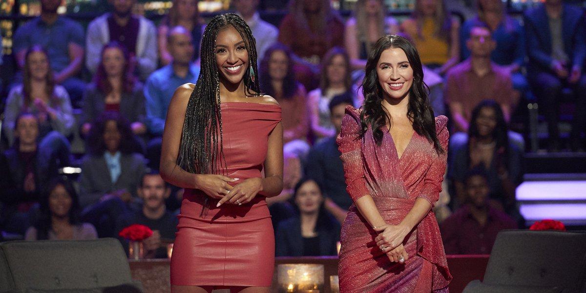 the bachelorette season 17 men tell all hosts tayshia adams and kaitlyn bristowe red dresses