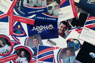 Kennedy Space Center Visitor Complex is marking the 50th anniversary of the Apollo mission launches with collectible trading cards.