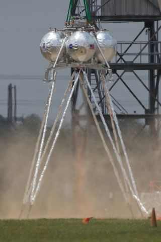 NASA's Morpheus lander seen during its second tethered engine test at Johnson Space Center in Houston.