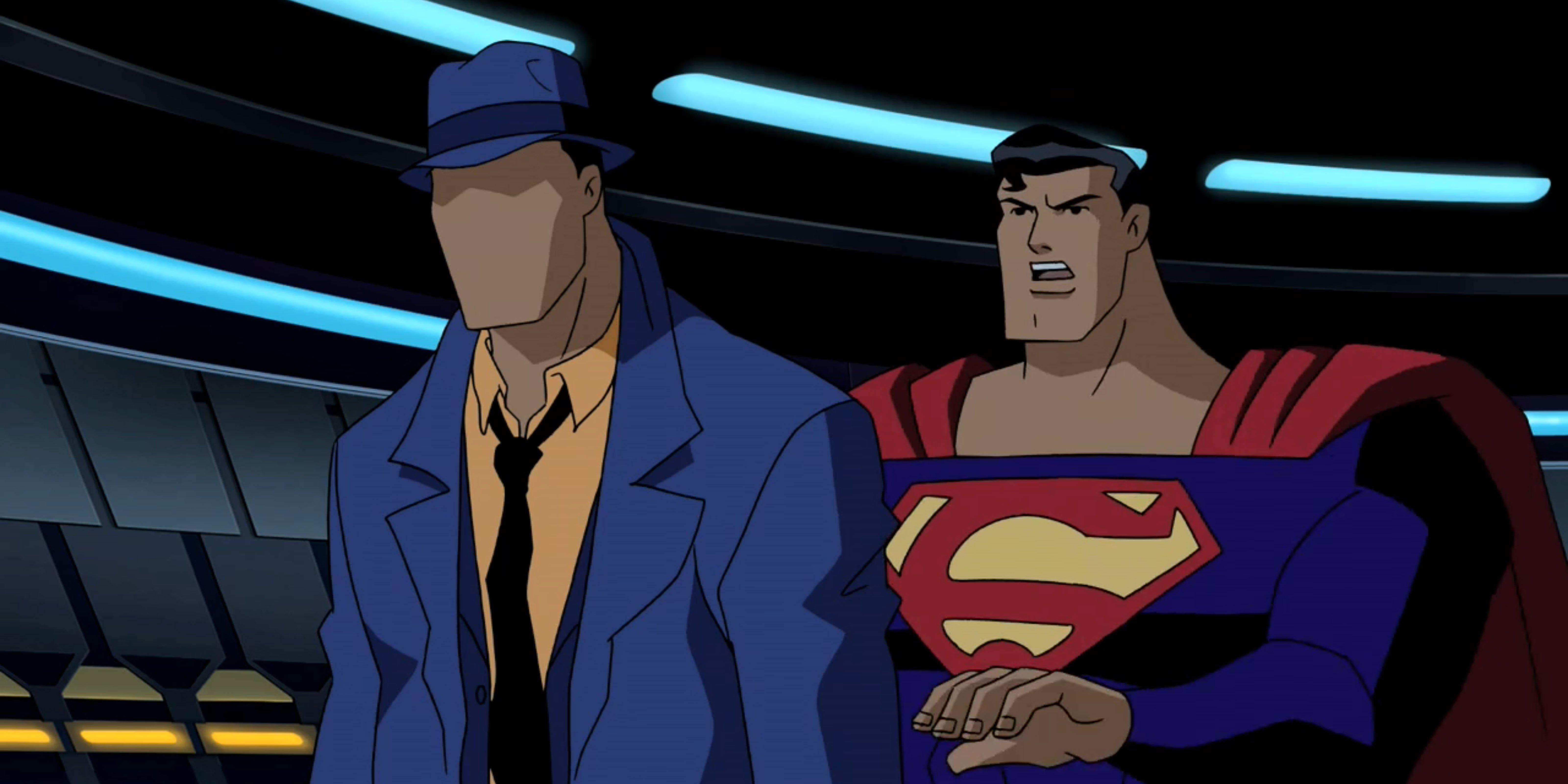 Superman confronts The Question.