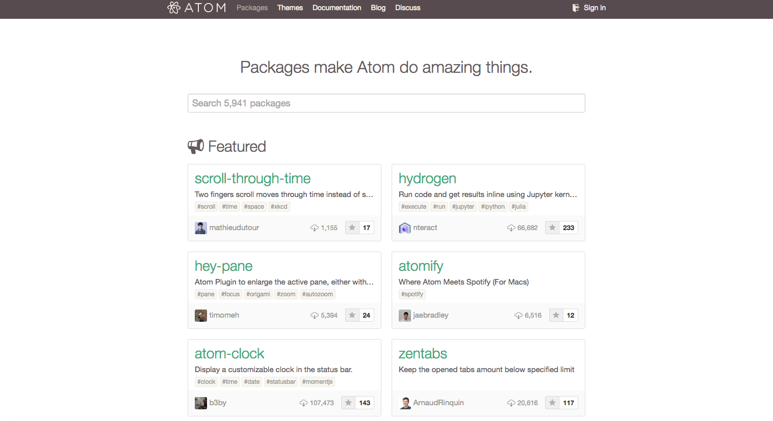 packages in Atom