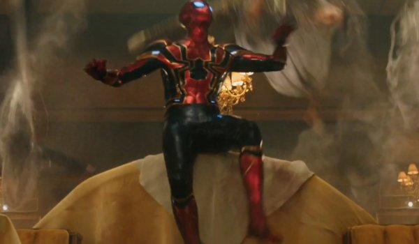 Spider-Man: Far From Home Spider-Man watches the bad guys get webbed up in his Iron Spider suit