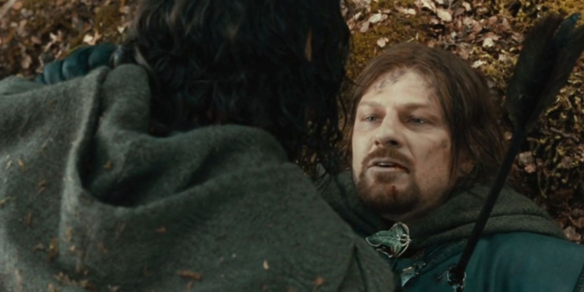 Sean Bean dying in Lord of the Rings: The Fellowship of the Ring
