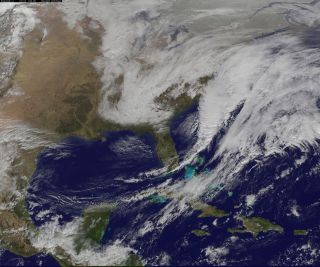 "NOAA's GOES-East satellite captured the developing Nor'easter ""Juno"" in this image, taken on Jan. 26, 2015."