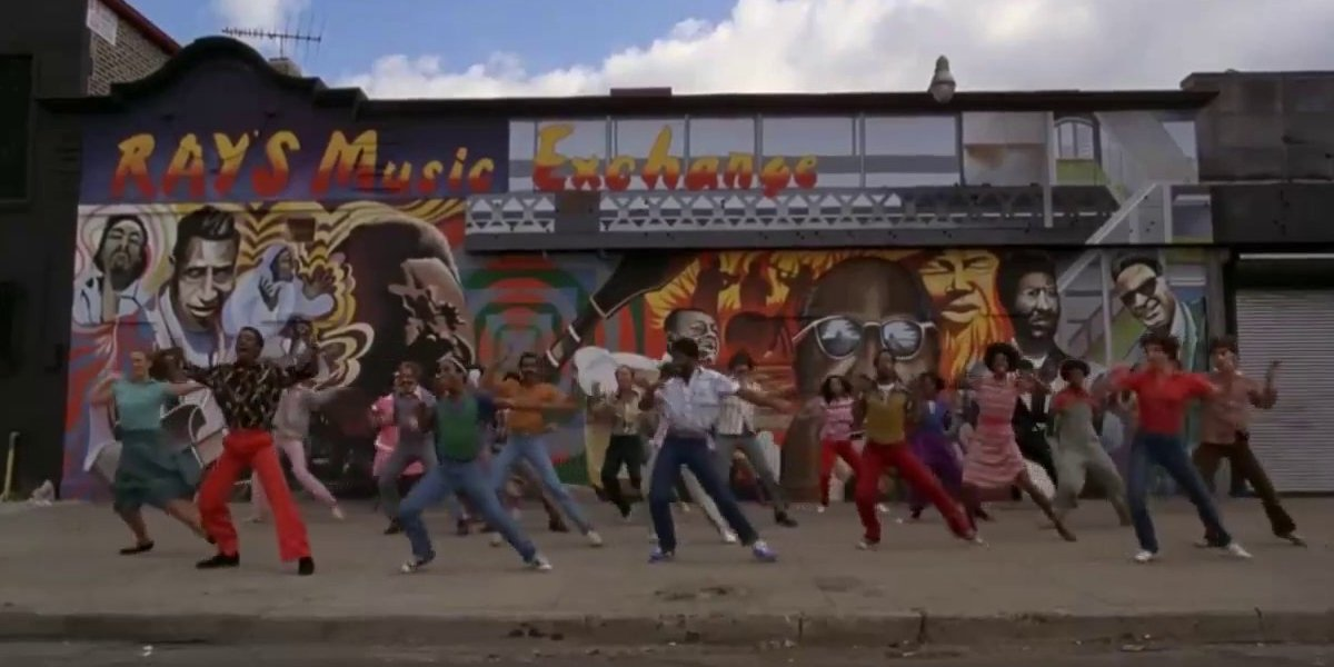 Dancers outside Ray's Music Exchange in The Blues Brothers