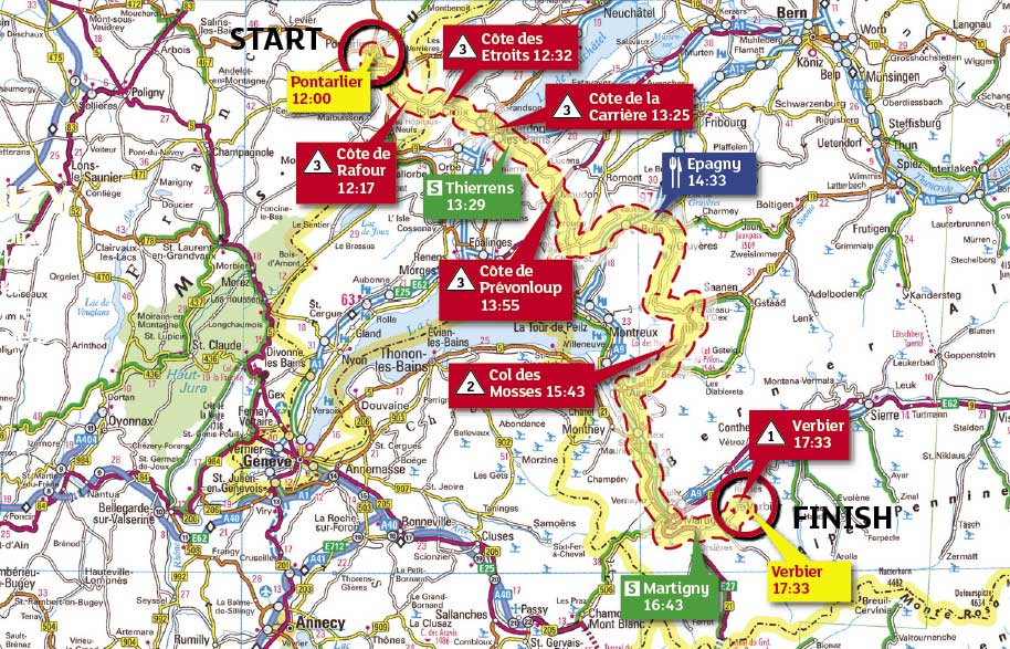 Tour de France 2009 stage 15 map