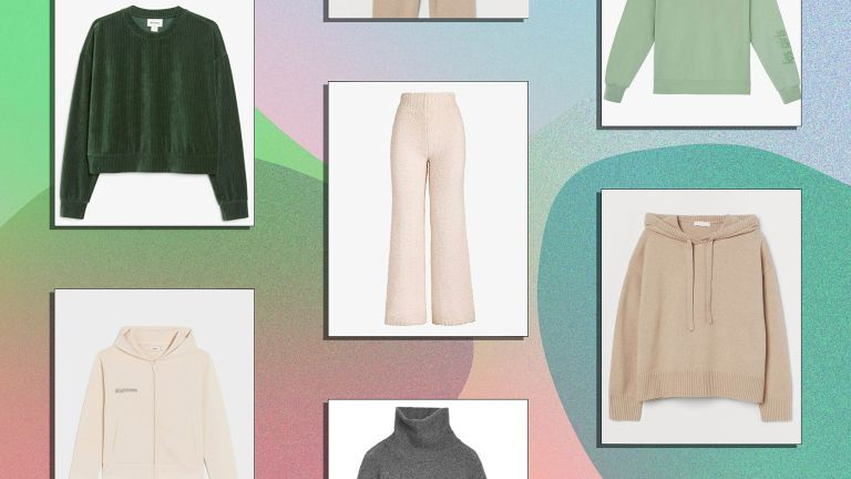 A selection of the best comfy loungewear is pictured featuring brnds like Skims, H&m, Weekday, Monki, Arket and Pangaia