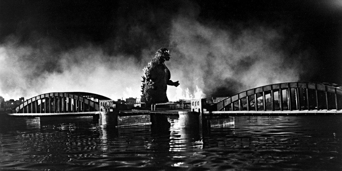Godzilla destroying Tokyo in Godzilla (1954)
