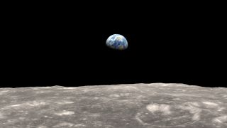 In this illustration of Earth seen from the moon, the lunar body tide creates a lump on the moon's surface.