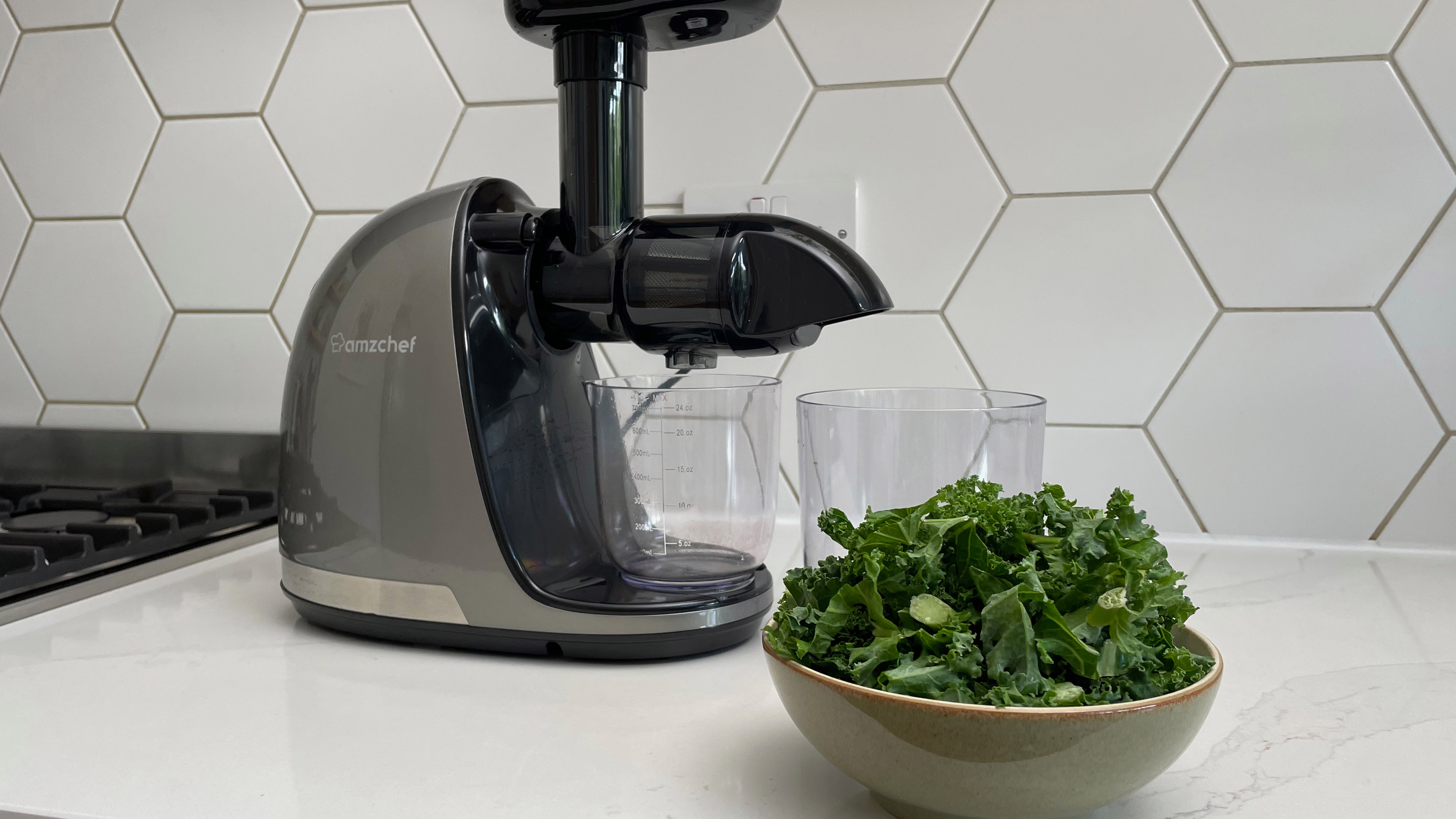 The Amzchef Slow Juicer ZM1501 with a bowl of kale ready to be juiced