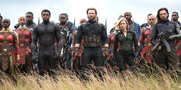 Black Panther, Captain America, Black Widow, Bucky, and the Avengers in Avengers: Infinity War for M