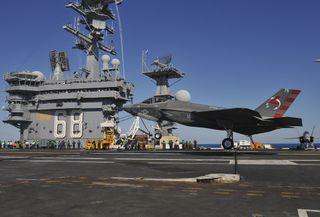 The F-35C Lightening II aboard the aircraft carrier USS Nimitz.