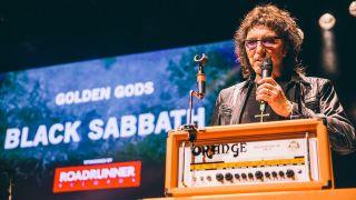 Tony Iommi collecting the Golden God award for Black Sabbath
