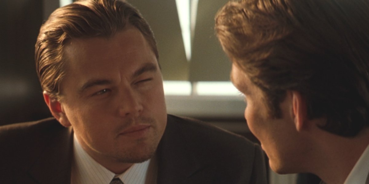 Inception Leonardo DiCaprio does his famous squint