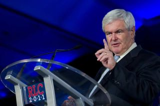 Presidential candidate Newt Gingrich addresses the Republican Leadership Conference on June 16, 2011 at the Hilton Riverside New Orleans.