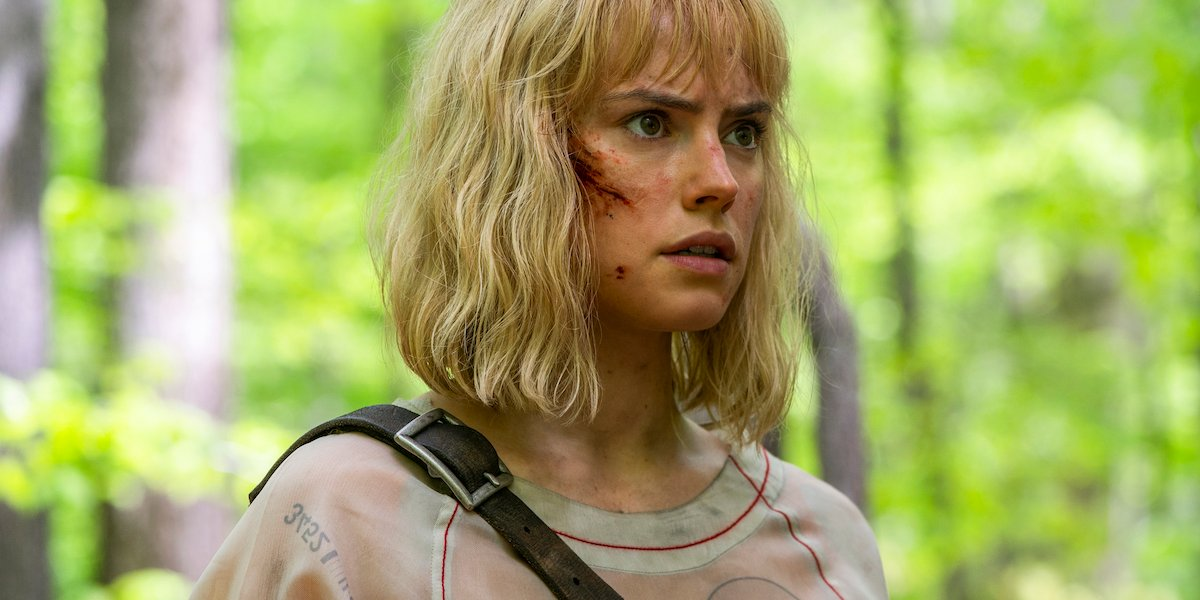 Daisy Ridley as Viola Eade in the forest in Chaos walking