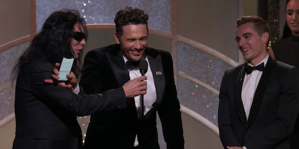 Tommy Wiseau and James Franco at the Golden Globes