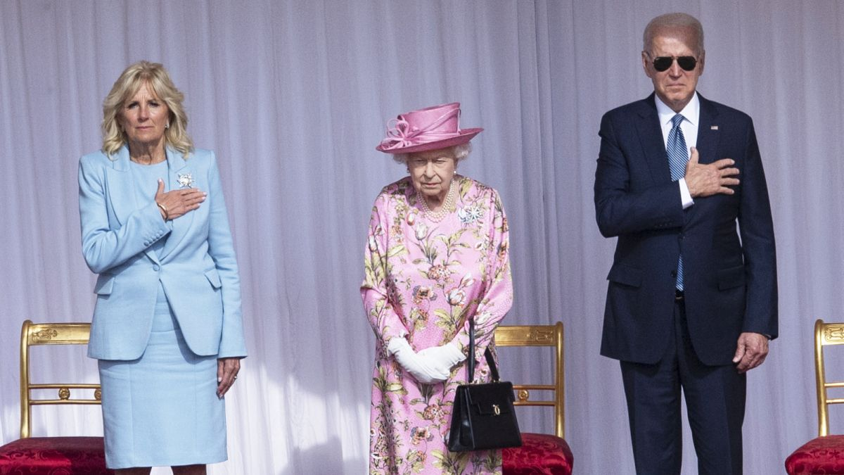 Dr Jill Biden's powder blue two-piece is flawless—but it's the Queen's outfit that has everyone talking