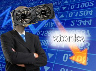 An image of the 'stonks' meme. The arrow is going down. The faceless stonks person's head is a GPU.
