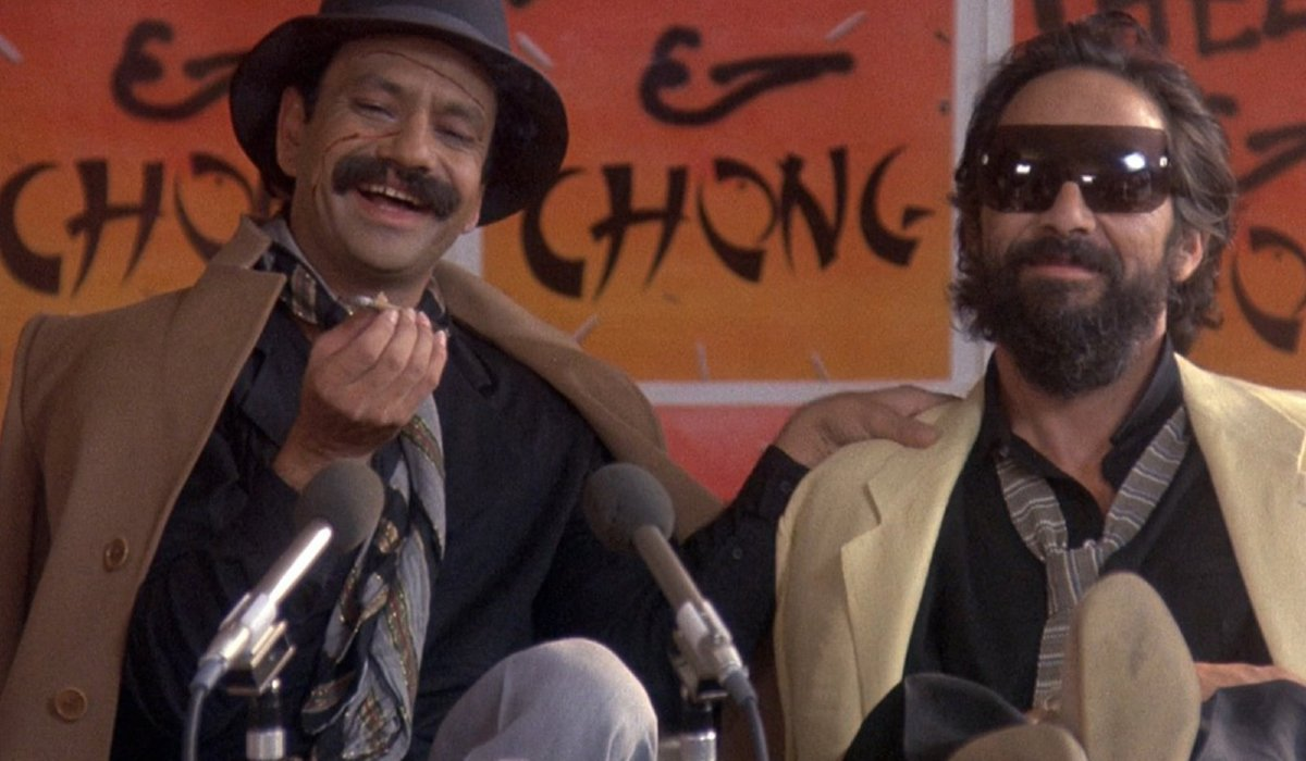 Cheech and Chong speaking in front of microphones in Cheech and Chong Still Smokin.