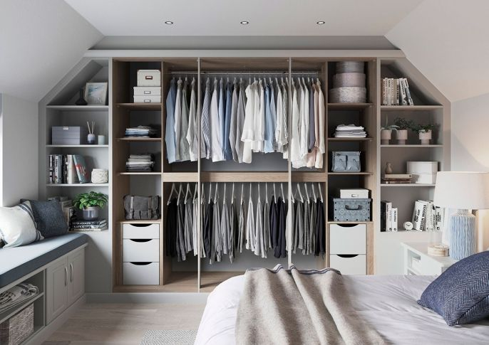 Rialto grey fitted wardrobe in a loft space