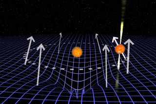 This graphic depicts the pulsar J1906 (at right with radio beams) and its companion star, with the curvature of spacetime in the region illustrated by a blue grid. This curvature has led to the pulsar's apparent disappearance in the sky, scientists say.