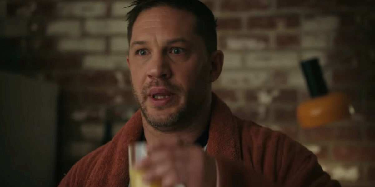 Tom Hardy eating breakfast from Venom in Let There Be Carnage
