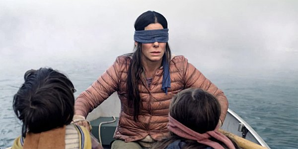 Sandra Bullock's Malorie With Boy and Girl in Bird Box on Netflix