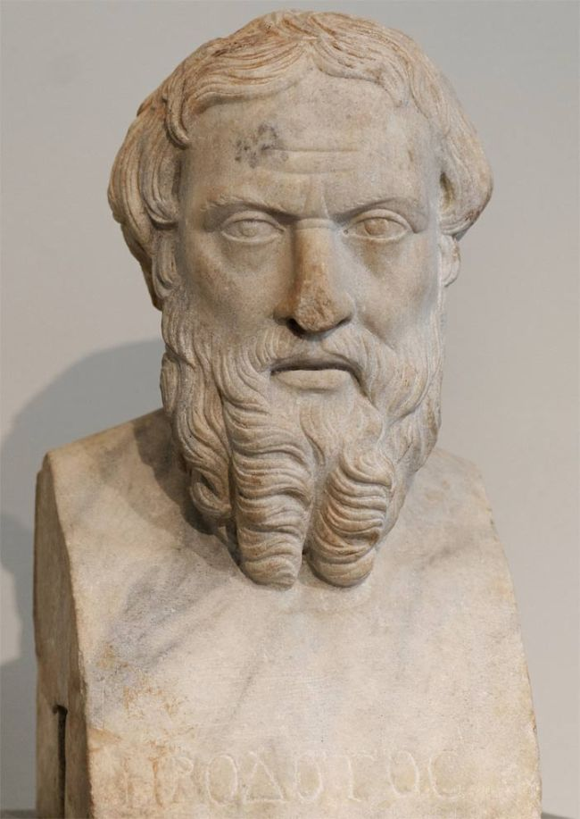 a bust of greek traveler Herodotus