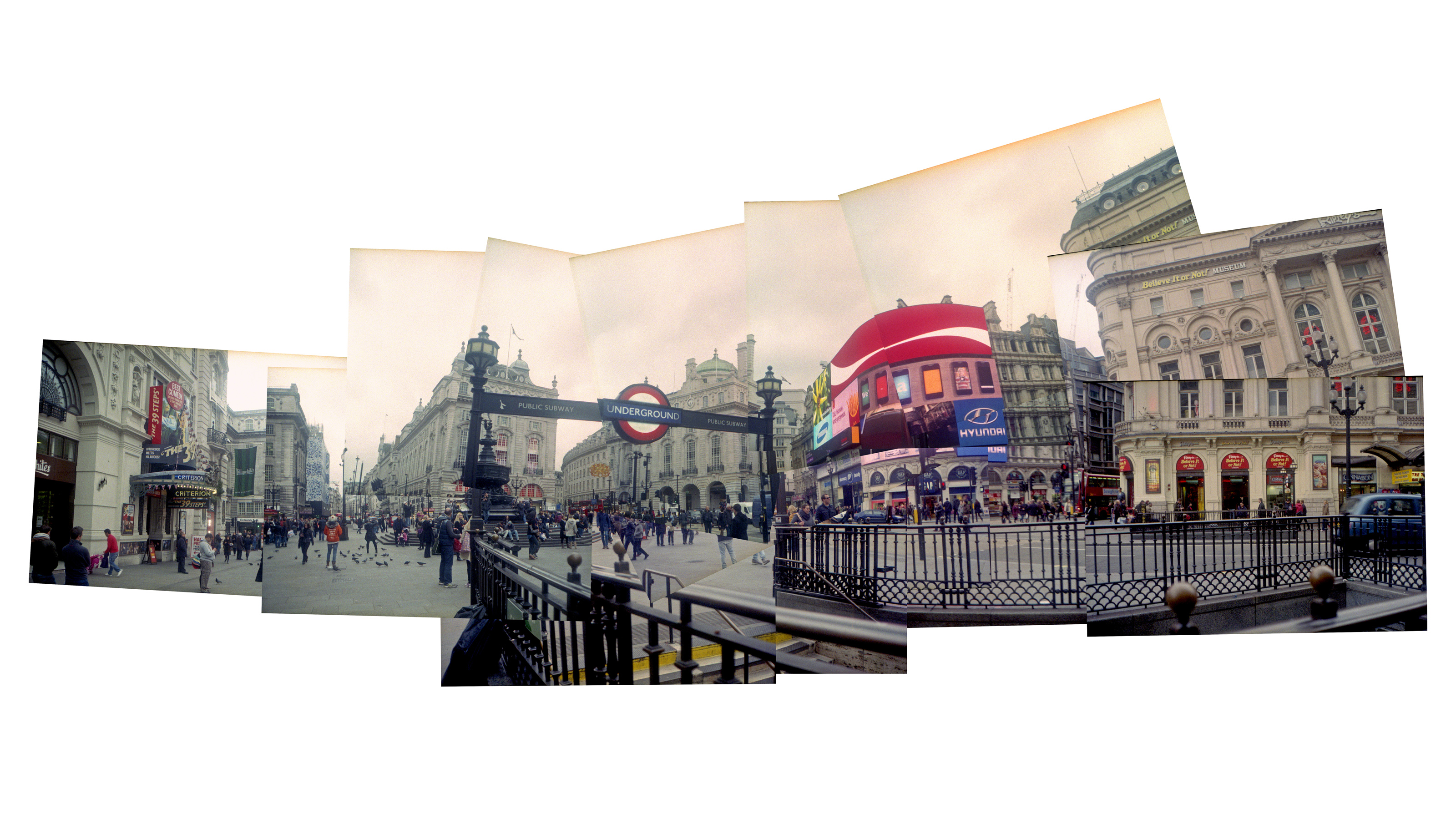 A photo of London's Piccadilly Circus taken on the Yashica Rapide camera