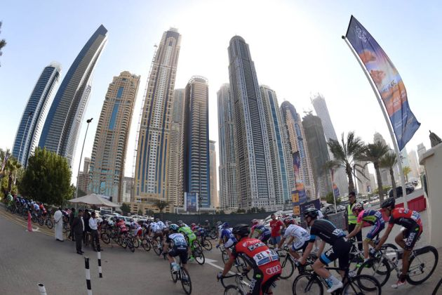The peloton on stage one of the 2015 Dubai Tour