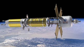 Artist's concept of a spacecraft powered by nuclear thermal propulsion.