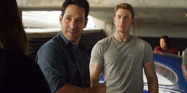 Paul Rudd as Scott Lang and Chris Evans as Steve Rogers in Captain America: Civil War